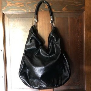 YSL black patent leather roady bag
